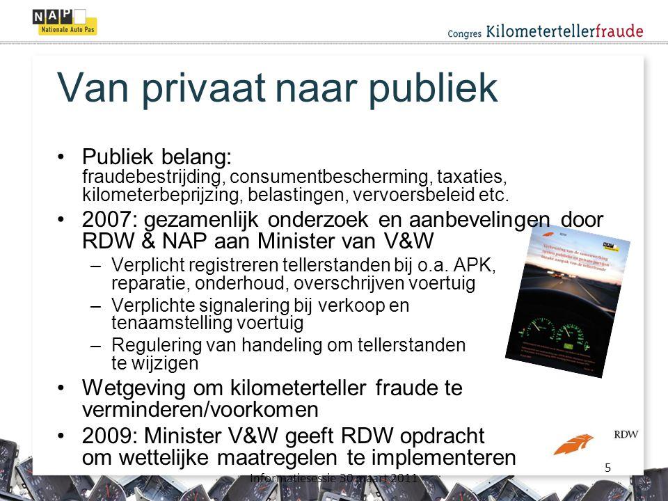 5 Informatiesessie 30 maart 2011 Van privaat naar publiek •Publiek belang: fraudebestrijding, consumentbescherming, taxaties, kilometerbeprijzing, belastingen, vervoersbeleid etc.