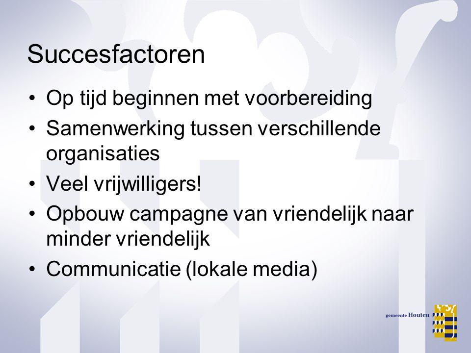 Succesfactoren •Op tijd beginnen met voorbereiding •Samenwerking tussen verschillende organisaties •Veel vrijwilligers.
