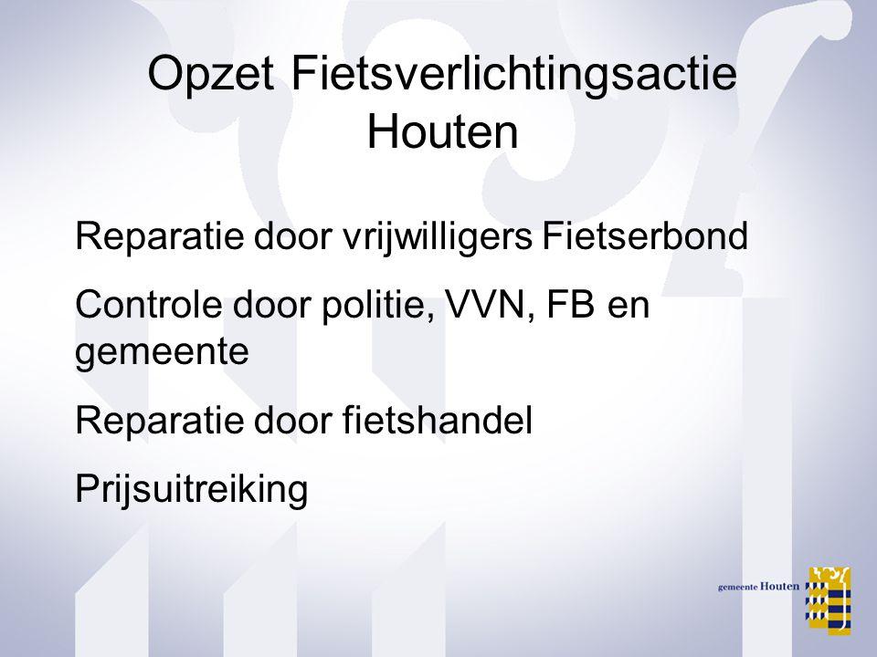 Opzet Fietsverlichtingsactie Houten Reparatie door vrijwilligers Fietserbond Controle door politie, VVN, FB en gemeente Reparatie door fietshandel Pri