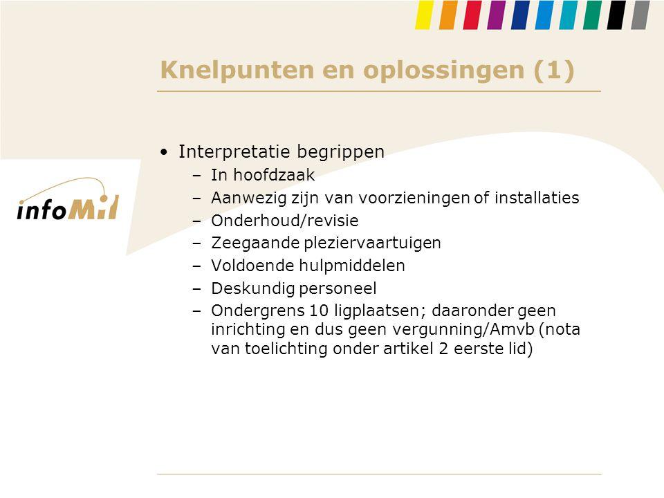 Knelpunten en oplossingen (1) •Interpretatie begrippen –In hoofdzaak –Aanwezig zijn van voorzieningen of installaties –Onderhoud/revisie –Zeegaande pl