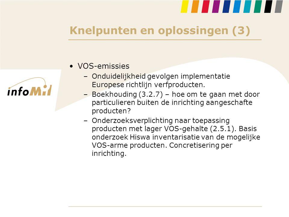 Knelpunten en oplossingen (3) •VOS-emissies –Onduidelijkheid gevolgen implementatie Europese richtlijn verfproducten. –Boekhouding (3.2.7) – hoe om te