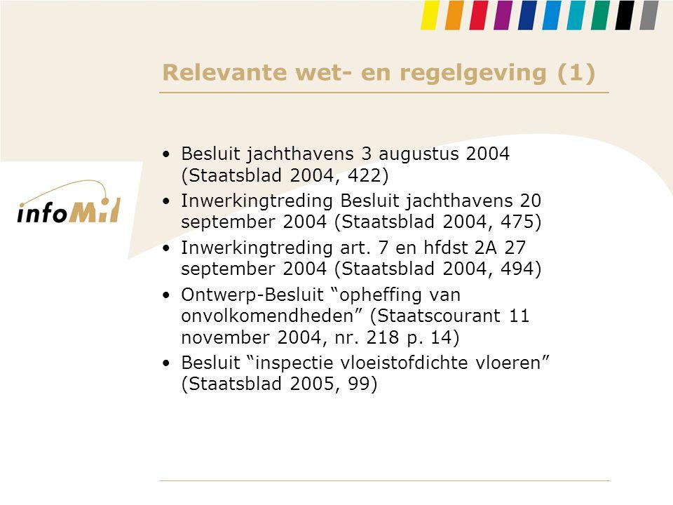 Relevante wet- en regelgeving (1) •Besluit jachthavens 3 augustus 2004 (Staatsblad 2004, 422) •Inwerkingtreding Besluit jachthavens 20 september 2004