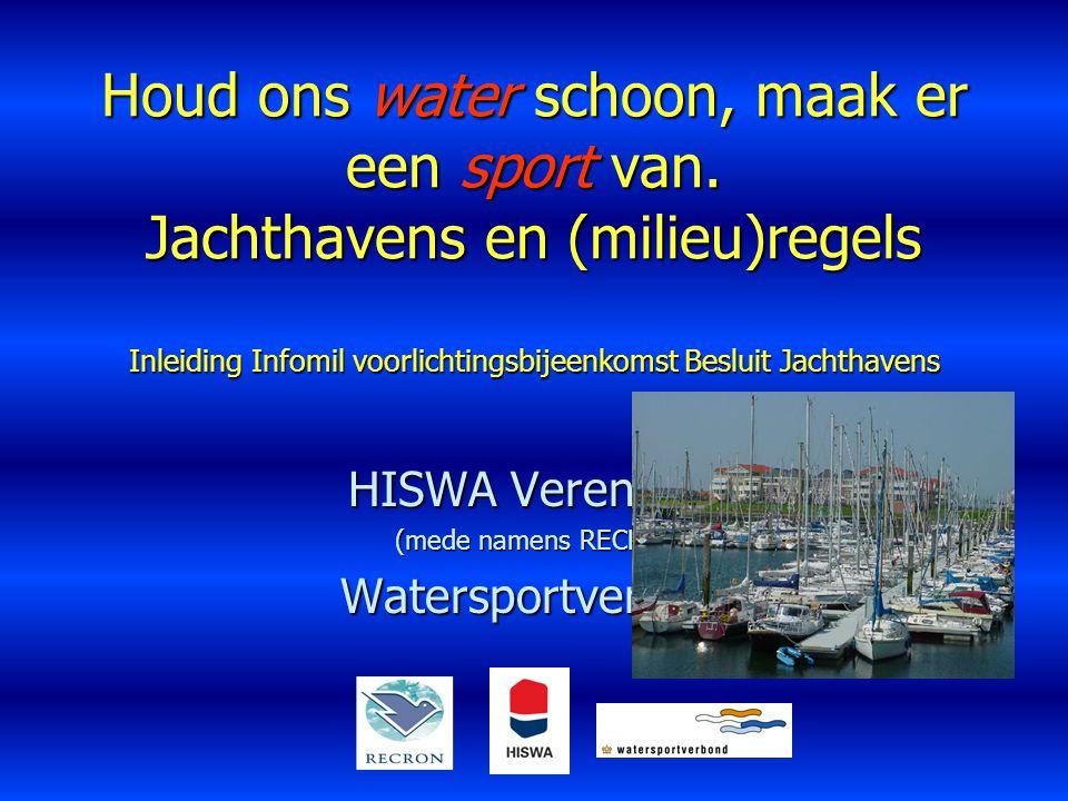 Houd ons water schoon, maak er een sport van. Jachthavens en (milieu)regels Inleiding Infomil voorlichtingsbijeenkomst Besluit Jachthavens HISWA Veren