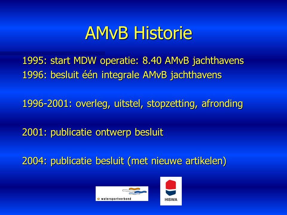 AMvB Historie 1995: start MDW operatie: 8.40 AMvB jachthavens 1996: besluit één integrale AMvB jachthavens 1996-2001: overleg, uitstel, stopzetting, a