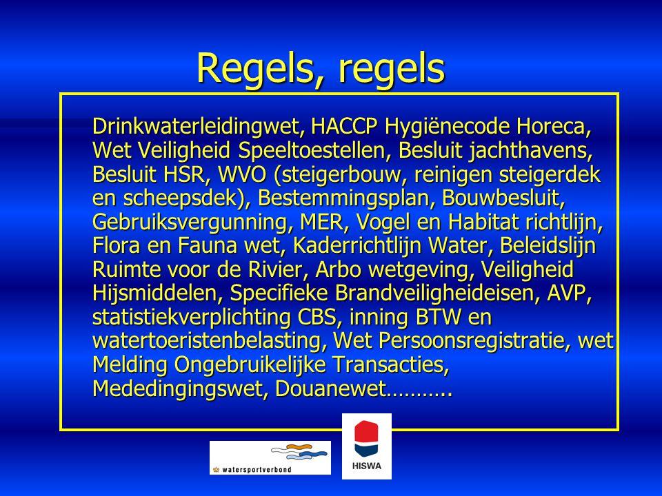 Regels, regels Drinkwaterleidingwet, HACCP Hygiënecode Horeca, Wet Veiligheid Speeltoestellen, Besluit jachthavens, Besluit HSR, WVO (steigerbouw, rei