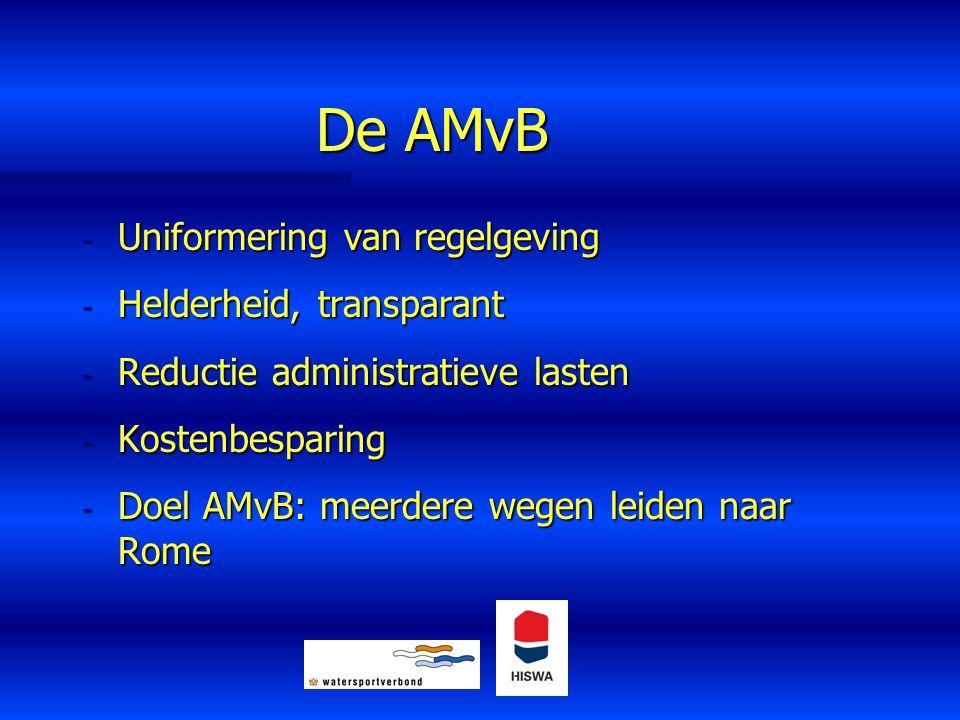 De AMvB - Uniformering van regelgeving - Helderheid, transparant - Reductie administratieve lasten - Kostenbesparing - Doel AMvB: meerdere wegen leide