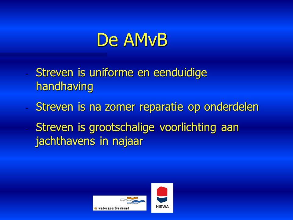 De AMvB - Streven is uniforme en eenduidige handhaving - Streven is na zomer reparatie op onderdelen - Streven is grootschalige voorlichting aan jacht