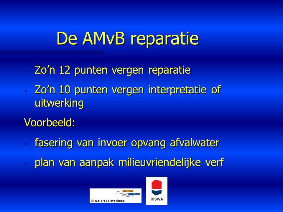 De AMvB reparatie - Zo'n 12 punten vergen reparatie - Zo'n 10 punten vergen interpretatie of uitwerking Voorbeeld: - fasering van invoer opvang afvalw