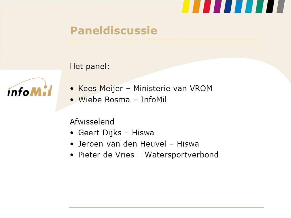 Paneldiscussie Het panel: •Kees Meijer – Ministerie van VROM •Wiebe Bosma – InfoMil Afwisselend •Geert Dijks – Hiswa •Jeroen van den Heuvel – Hiswa •P