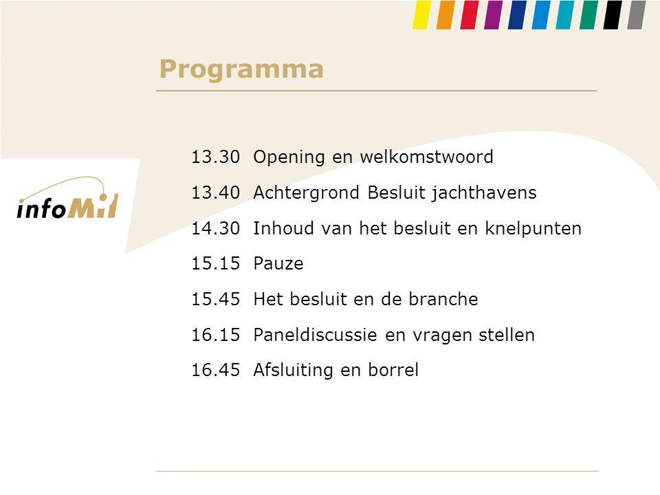 Programma 13.30 Opening en welkomstwoord 13.40 Achtergrond Besluit jachthavens 14.30 Inhoud van het besluit en knelpunten 15.15 Pauze 15.45 Het beslui