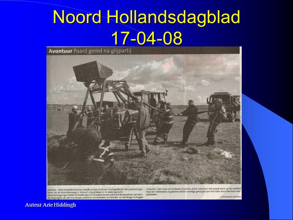 Auteur Arie Hiddingh Noord Hollandsdagblad 17-04-08