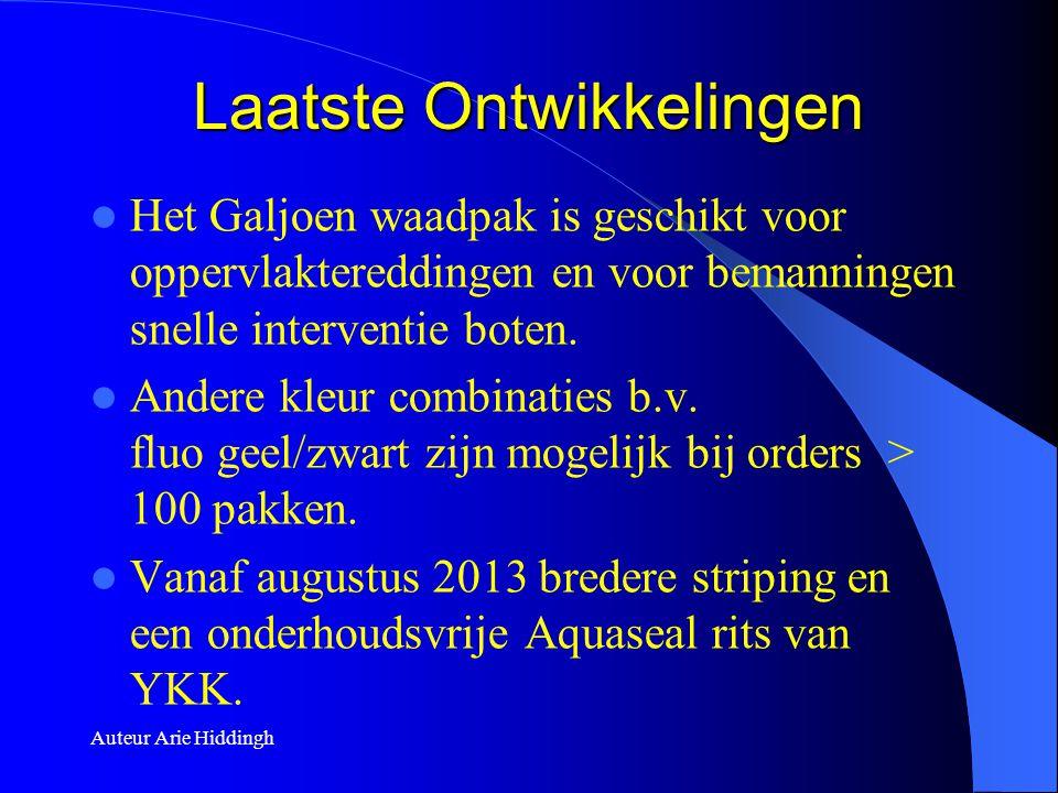 Auteur Arie Hiddingh Laatste Ontwikkelingen  Het Galjoen waadpak is geschikt voor oppervlaktereddingen en voor bemanningen snelle interventie boten.