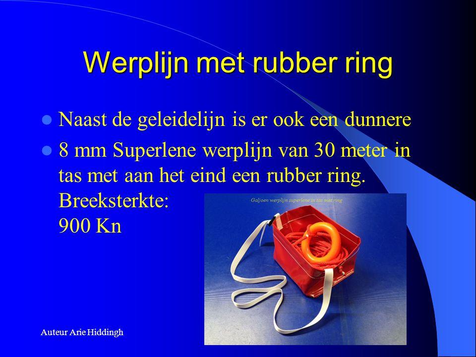 Werplijn met rubber ring  Naast de geleidelijn is er ook een dunnere  8 mm Superlene werplijn van 30 meter in tas met aan het eind een rubber ring.
