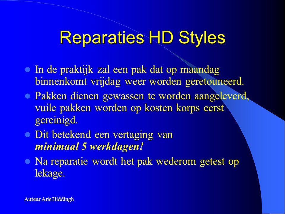 Auteur Arie Hiddingh Reparaties HD Styles  In de praktijk zal een pak dat op maandag binnenkomt vrijdag weer worden geretouneerd.  Pakken dienen gew