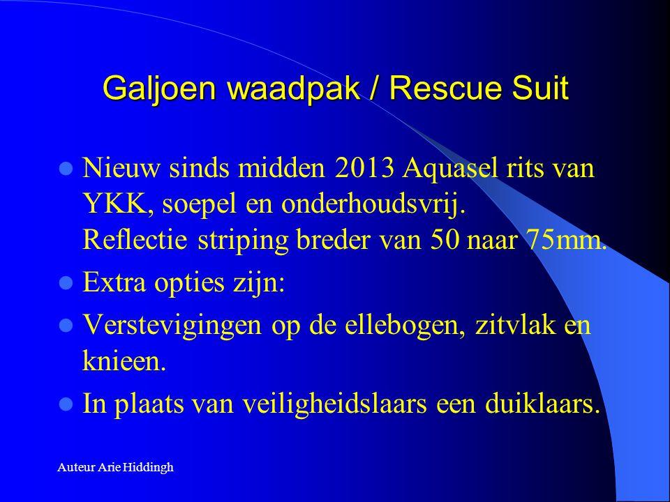 Galjoen waadpak / Rescue Suit  Nieuw sinds midden 2013 Aquasel rits van YKK, soepel en onderhoudsvrij. Reflectie striping breder van 50 naar 75mm. 