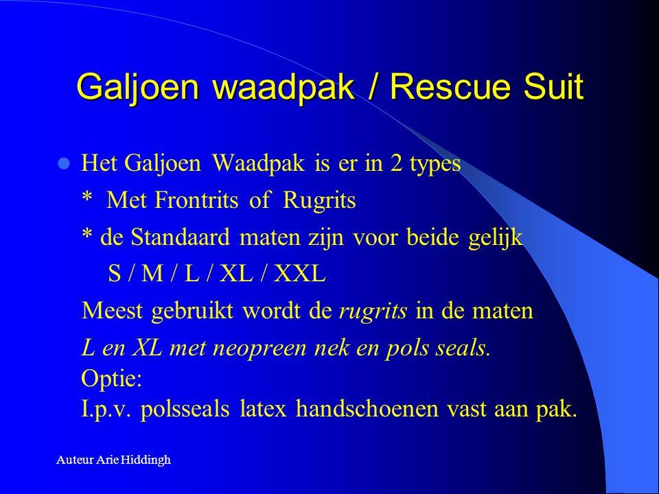 Galjoen waadpak / Rescue Suit  Het Galjoen Waadpak is er in 2 types * Met Frontrits of Rugrits * de Standaard maten zijn voor beide gelijk S / M / L