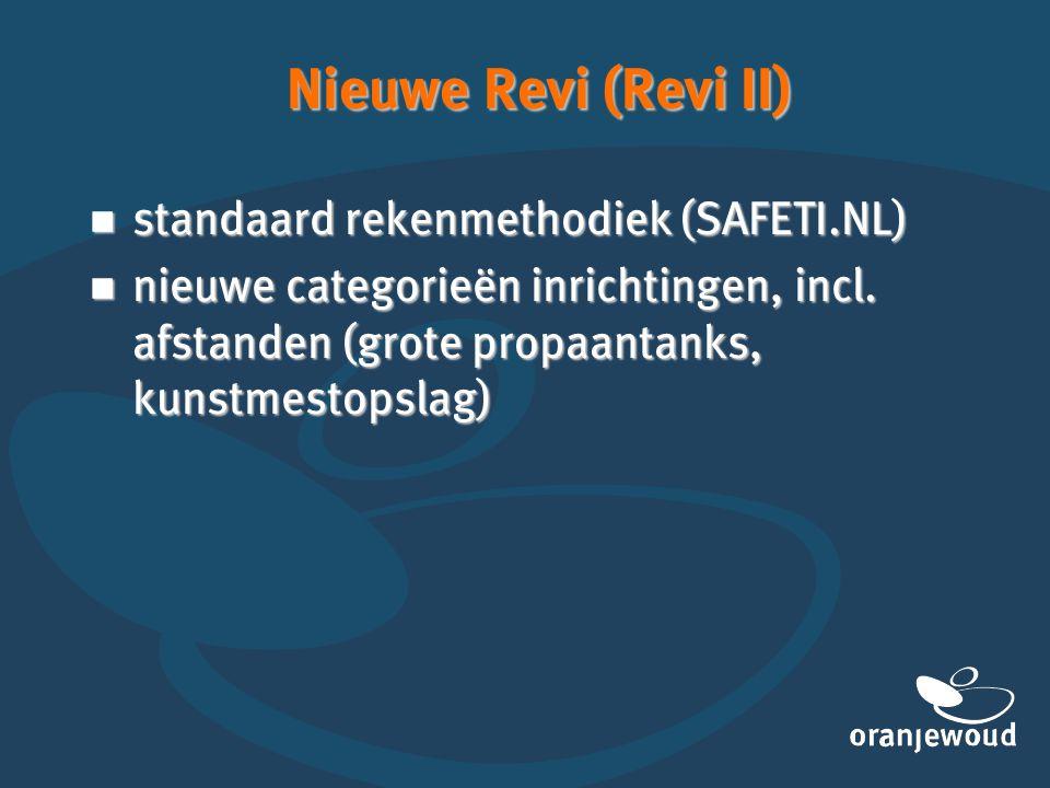Nieuwe Revi (Revi II)  standaard rekenmethodiek (SAFETI.NL)  nieuwe categorieën inrichtingen, incl. afstanden (grote propaantanks, kunstmestopslag)