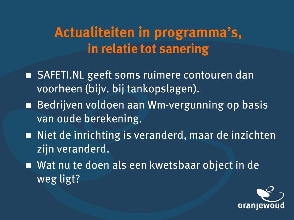 Actualiteiten in programma's, in relatie tot sanering   SAFETI.NL geeft soms ruimere contouren dan voorheen (bijv. bij tankopslagen).   Bedrijven