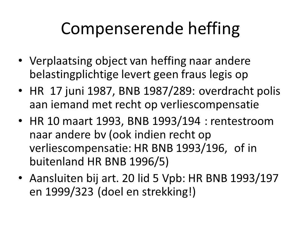 Compenserende heffing • Verplaatsing object van heffing naar andere belastingplichtige levert geen fraus legis op • HR 17 juni 1987, BNB 1987/289: ove