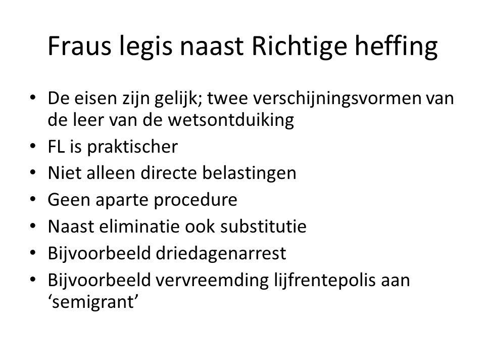 Fraus legis naast Richtige heffing • De eisen zijn gelijk; twee verschijningsvormen van de leer van de wetsontduiking • FL is praktischer • Niet allee