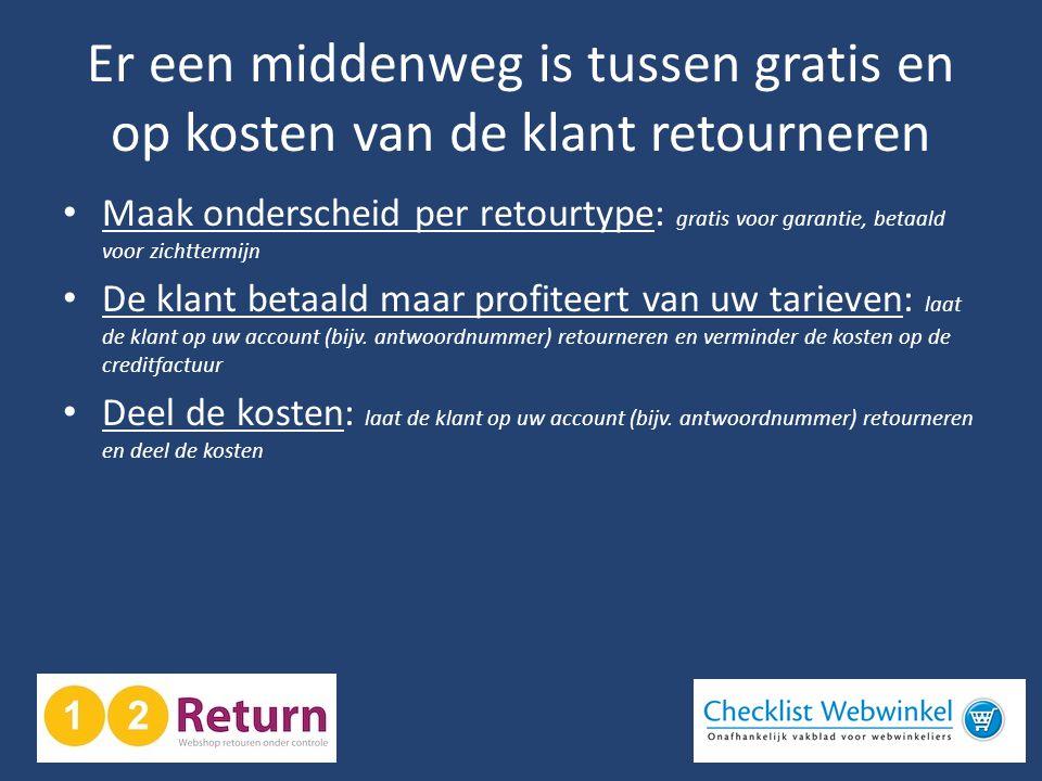 Er een middenweg is tussen gratis en op kosten van de klant retourneren • Maak onderscheid per retourtype: gratis voor garantie, betaald voor zichtter