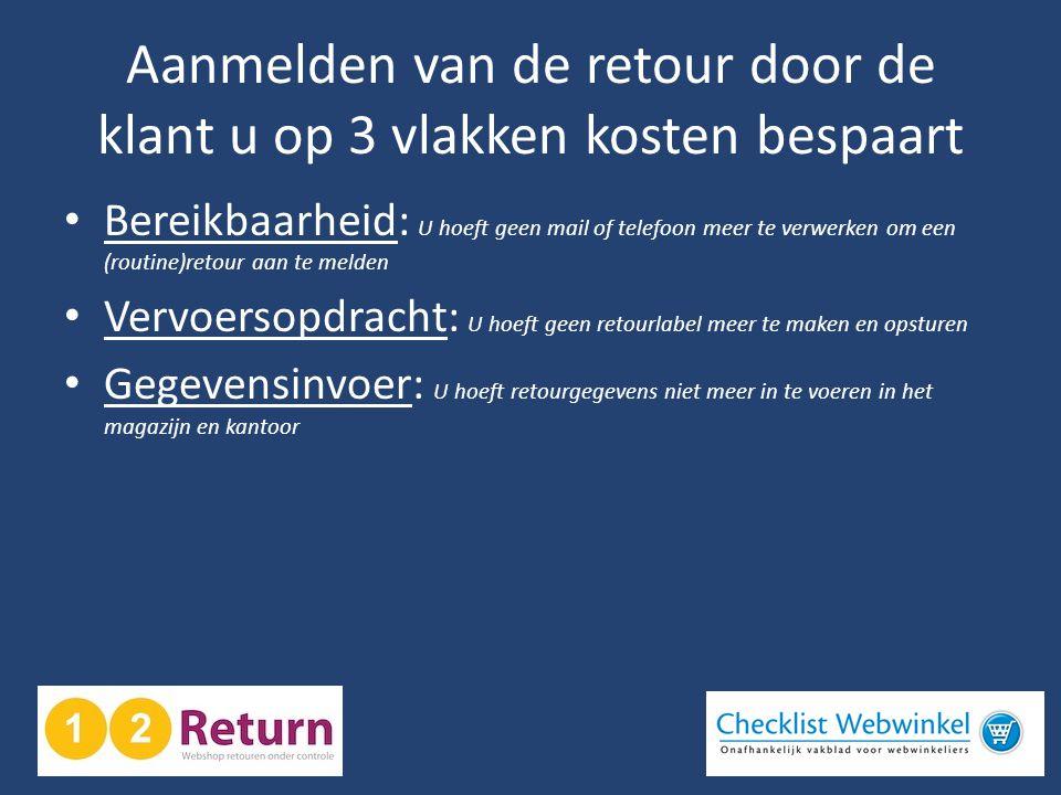 Aanmelden van de retour door de klant u op 3 vlakken kosten bespaart • Bereikbaarheid: U hoeft geen mail of telefoon meer te verwerken om een (routine