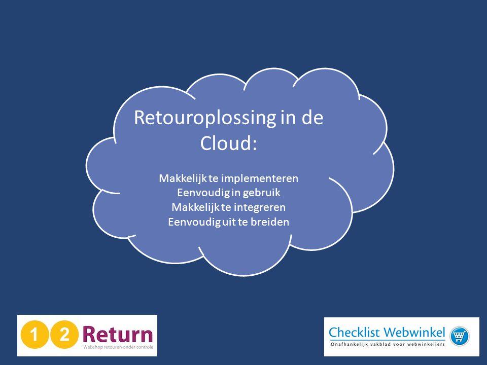 Retouroplossing in de Cloud: Makkelijk te implementeren Eenvoudig in gebruik Makkelijk te integreren Eenvoudig uit te breiden