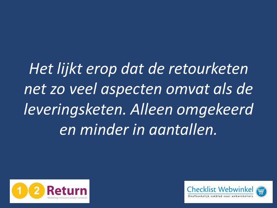 Het lijkt erop dat de retourketen net zo veel aspecten omvat als de leveringsketen. Alleen omgekeerd en minder in aantallen.