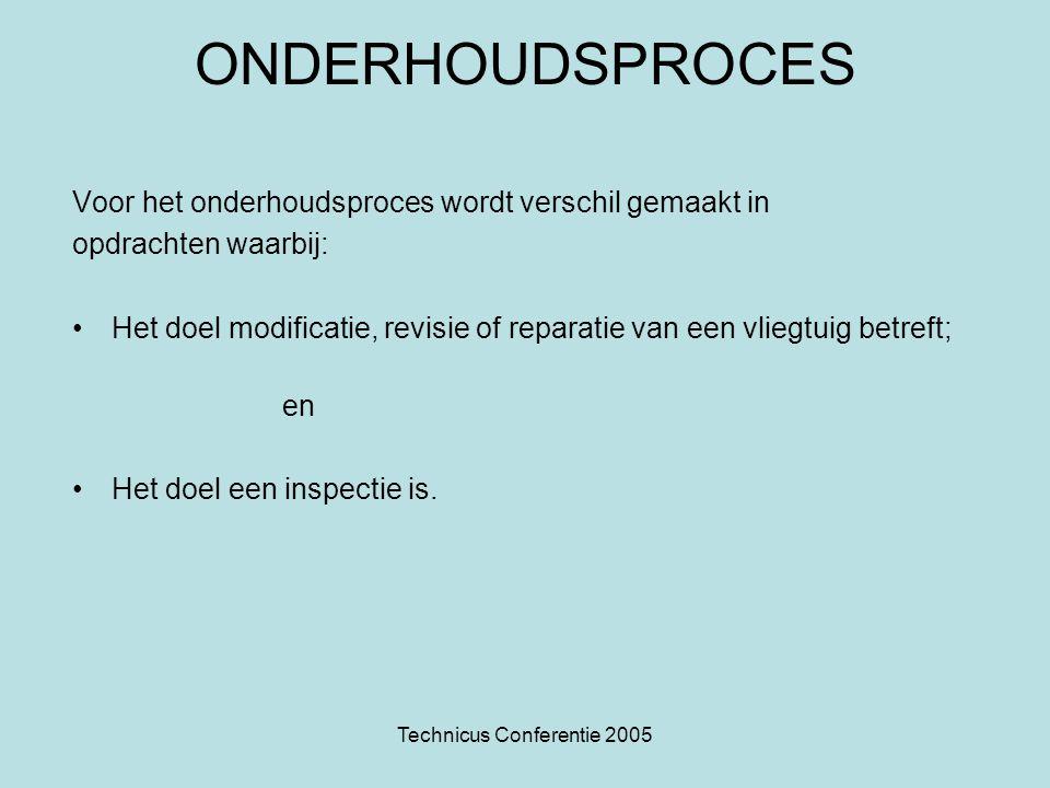 Technicus Conferentie 2005 ONDERHOUDSPROCES Voor het onderhoudsproces wordt verschil gemaakt in opdrachten waarbij: •Het doel modificatie, revisie of
