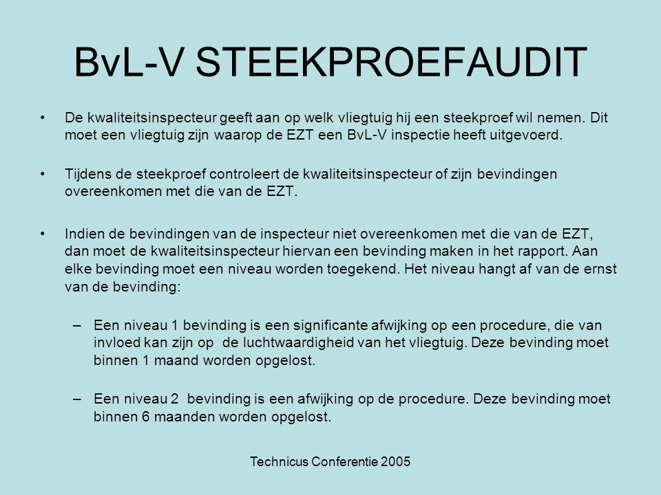 Technicus Conferentie 2005 BvL-V STEEKPROEFAUDIT •De kwaliteitsinspecteur geeft aan op welk vliegtuig hij een steekproef wil nemen. Dit moet een vlieg