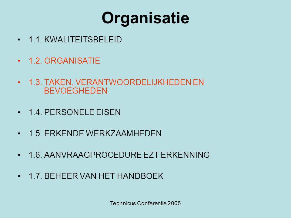 Technicus Conferentie 2005 Organisatie •1.1. KWALITEITSBELEID •1.2. ORGANISATIE •1.3. TAKEN, VERANTWOORDELIJKHEDEN EN BEVOEGHEDEN •1.4. PERSONELE EISE