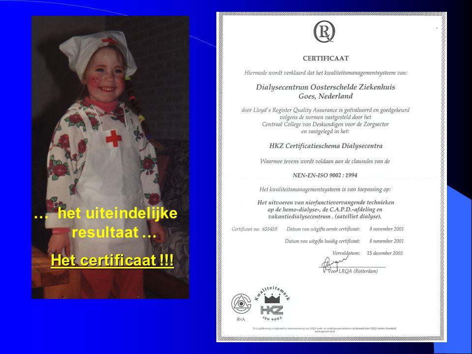 … het uiteindelijke resultaat … Het certificaat !!!