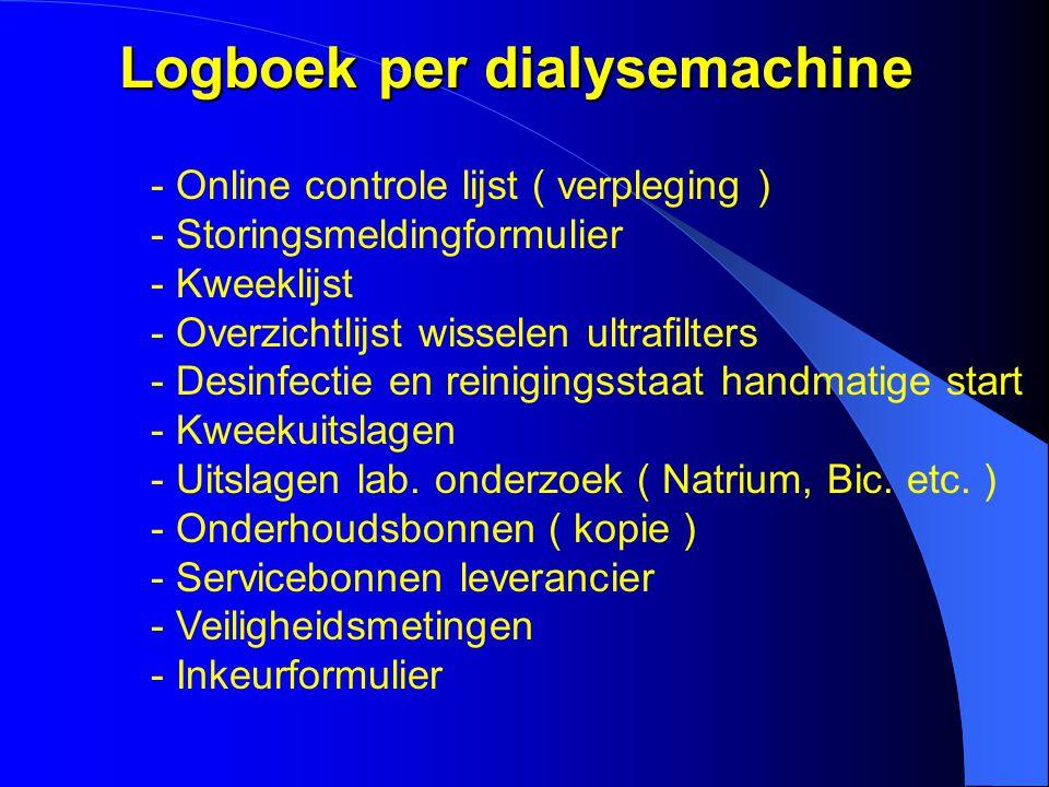 Logboek per dialysemachine - Online controle lijst ( verpleging ) - Storingsmeldingformulier - Kweeklijst - Overzichtlijst wisselen ultrafilters - Des
