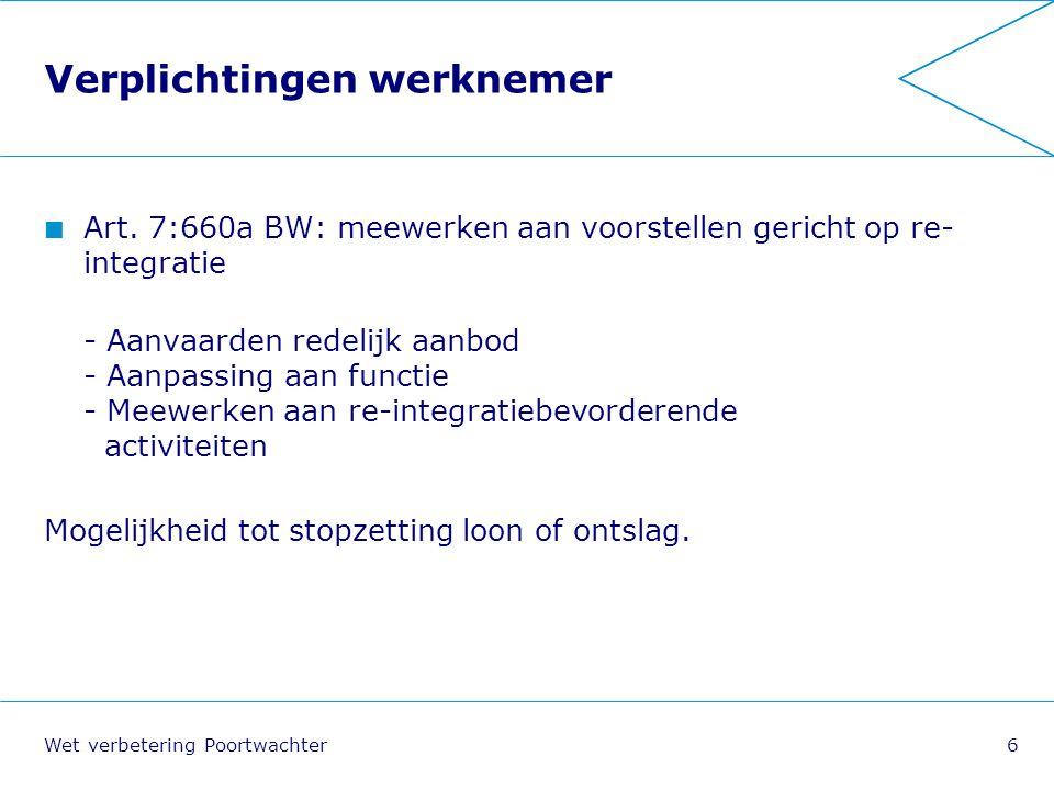 Wet verbetering Poortwachter17 Opbouw re-integratieverslag Week 6: Probleemanalyse Week 8: Plan van Aanpak Minimaal een keer per zes weken: evaluatie (bijstelling).