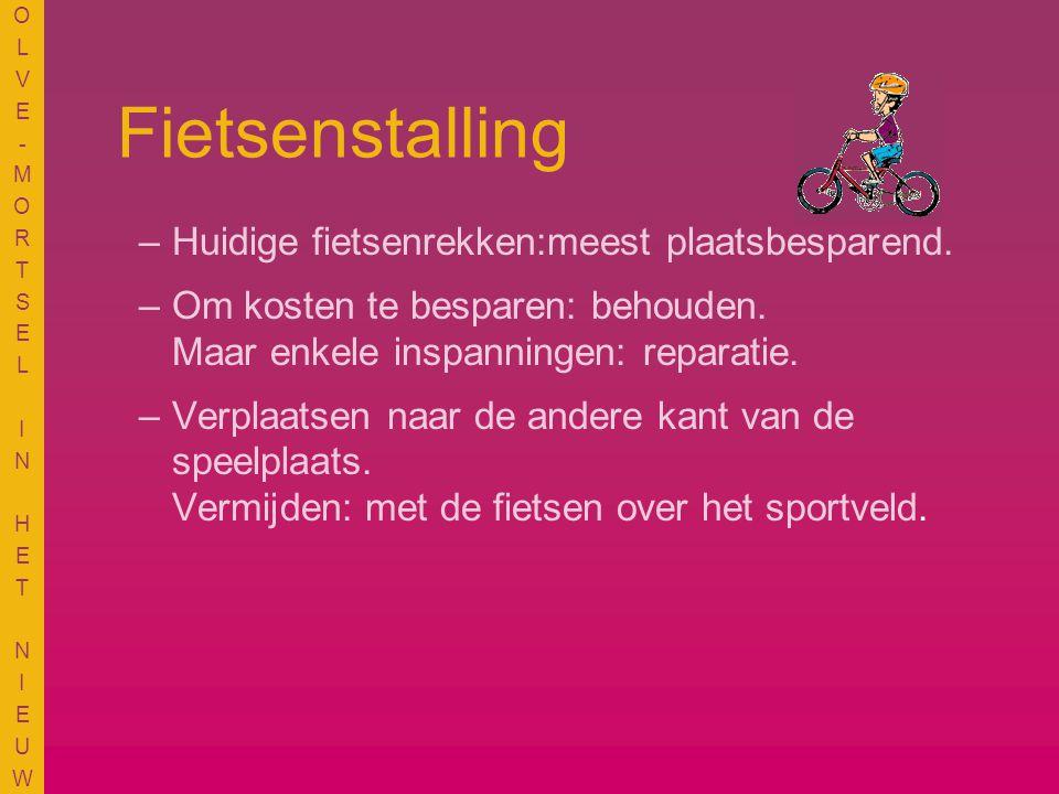 OLVE-MORTSEL IN HET NIEUWOLVE-MORTSEL IN HET NIEUW Fietsenstalling –Huidige fietsenrekken:meest plaatsbesparend.