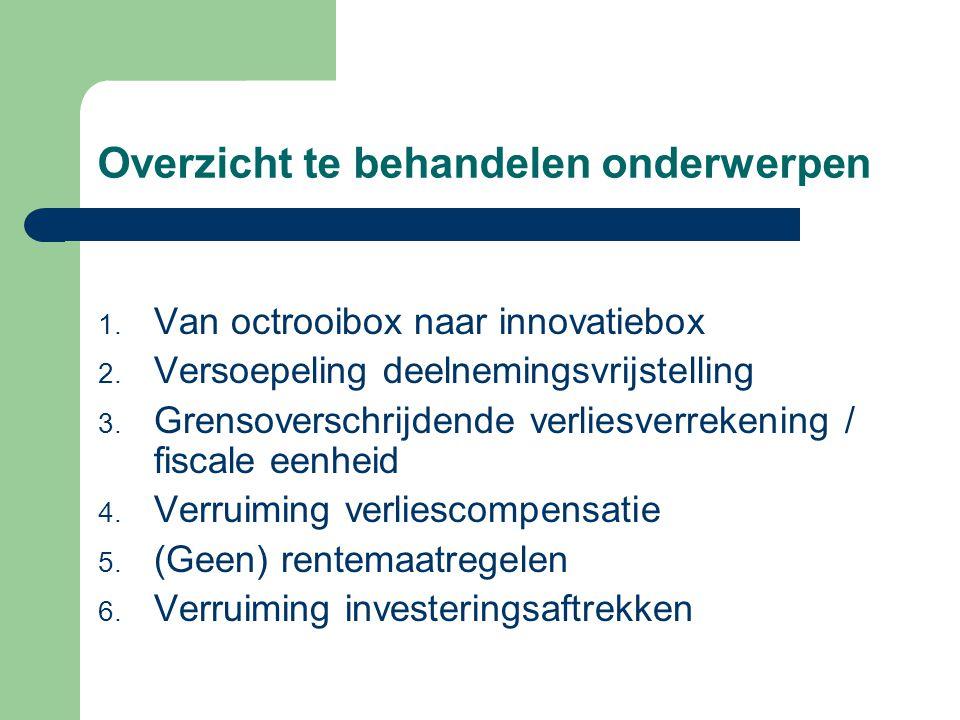Overzicht te behandelen onderwerpen 1. Van octrooibox naar innovatiebox 2. Versoepeling deelnemingsvrijstelling 3. Grensoverschrijdende verliesverreke