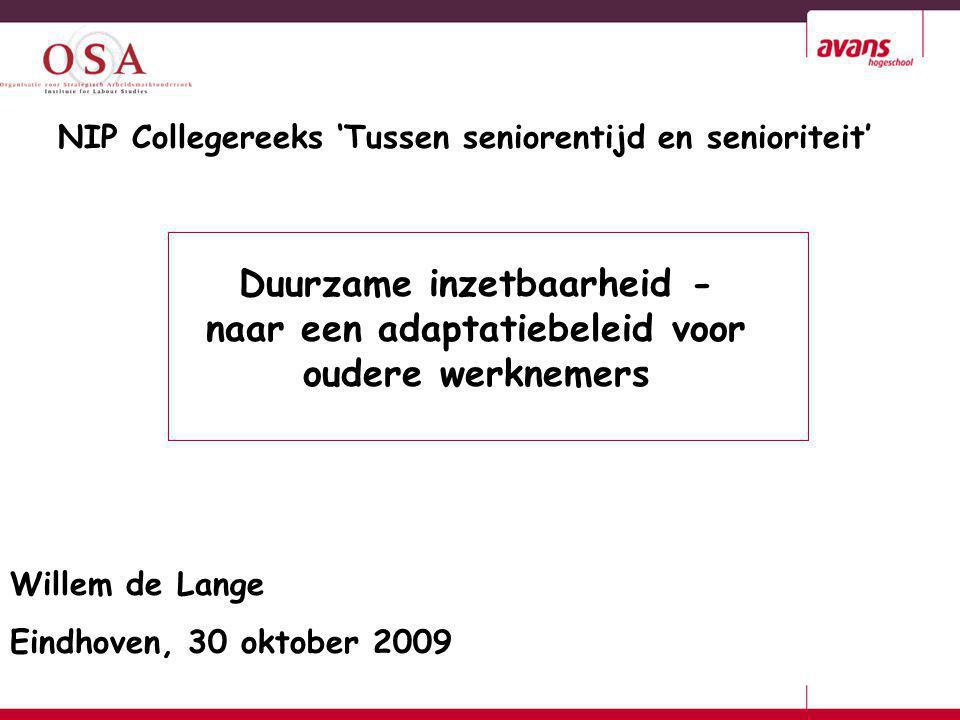 Willem de Lange Eindhoven, 30 oktober 2009 Duurzame inzetbaarheid - naar een adaptatiebeleid voor oudere werknemers NIP Collegereeks 'Tussen seniorent