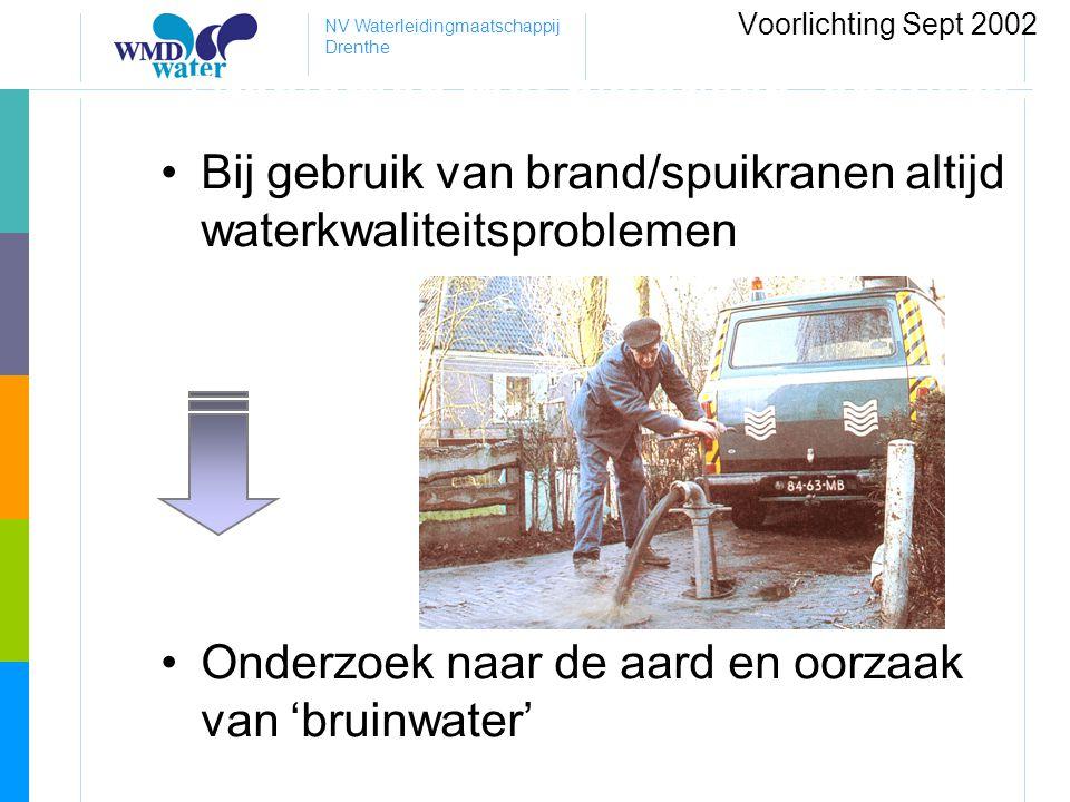 NV Waterleidingmaatschappij Drenthe Problemen met historisch ontwerp •Bij gebruik van brand/spuikranen altijd waterkwaliteitsproblemen •Onderzoek naar