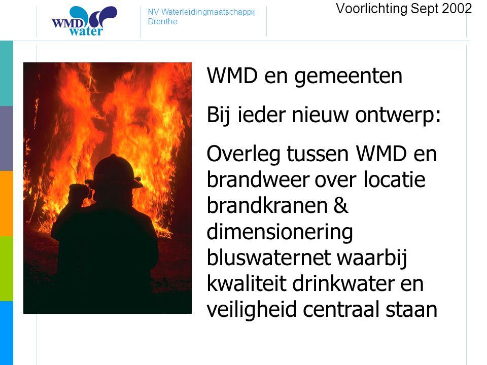 NV Waterleidingmaatschappij Drenthe WMD en gemeenten Bij ieder nieuw ontwerp: Overleg tussen WMD en brandweer over locatie brandkranen & dimensionerin