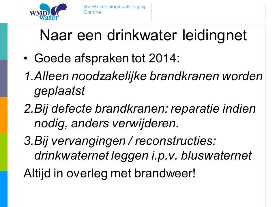 NV Waterleidingmaatschappij Drenthe Naar een drinkwater leidingnet •Goede afspraken tot 2014: 1.Alleen noodzakelijke brandkranen worden geplaatst 2.Bi