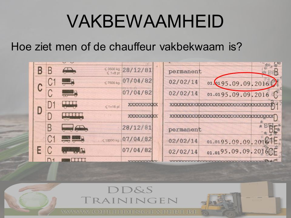 VAKBEWAAMHEID Hoe ziet men of de chauffeur vakbekwaam is