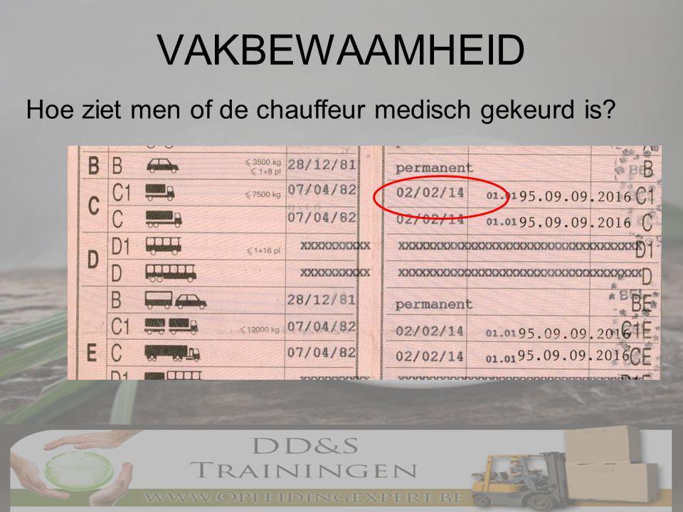 VAKBEWAAMHEID Hoe ziet men of de chauffeur medisch gekeurd is