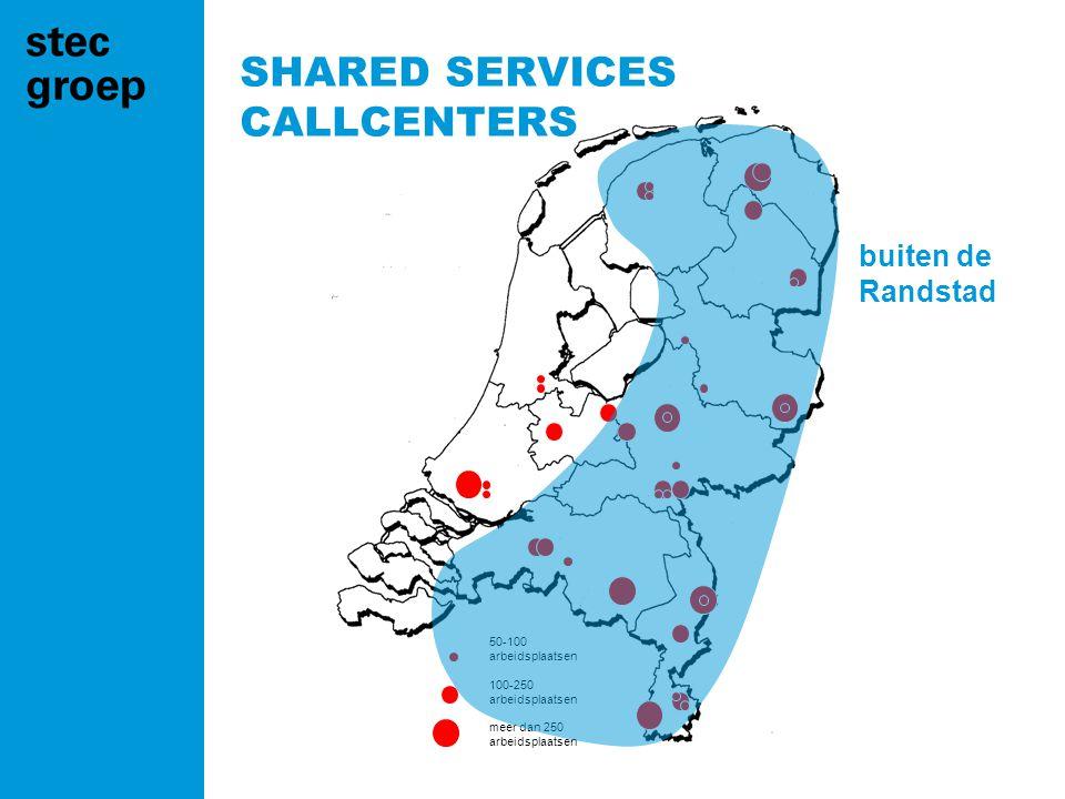50-100 arbeidsplaatsen 100-250 arbeidsplaatsen meer dan 250 arbeidsplaatsen buiten de Randstad SHARED SERVICES CALLCENTERS