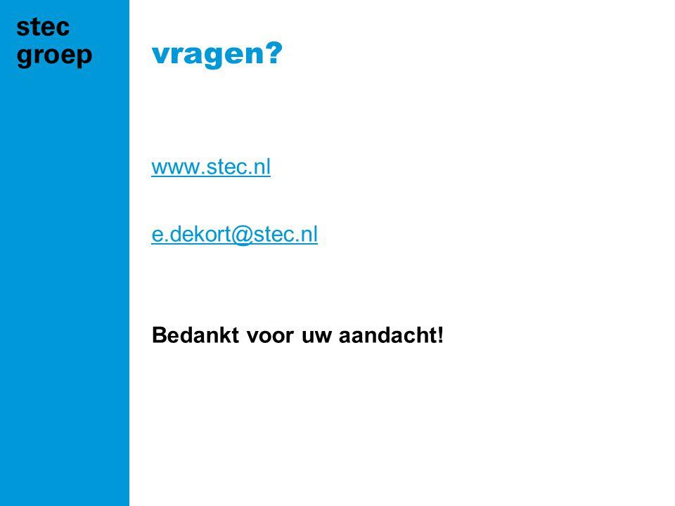 vragen? www.stec.nl e.dekort@stec.nl Bedankt voor uw aandacht!