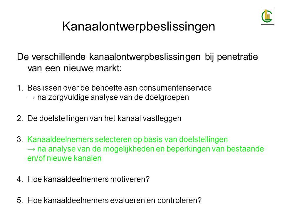 De verschillende kanaalontwerpbeslissingen bij penetratie van een nieuwe markt: 1.