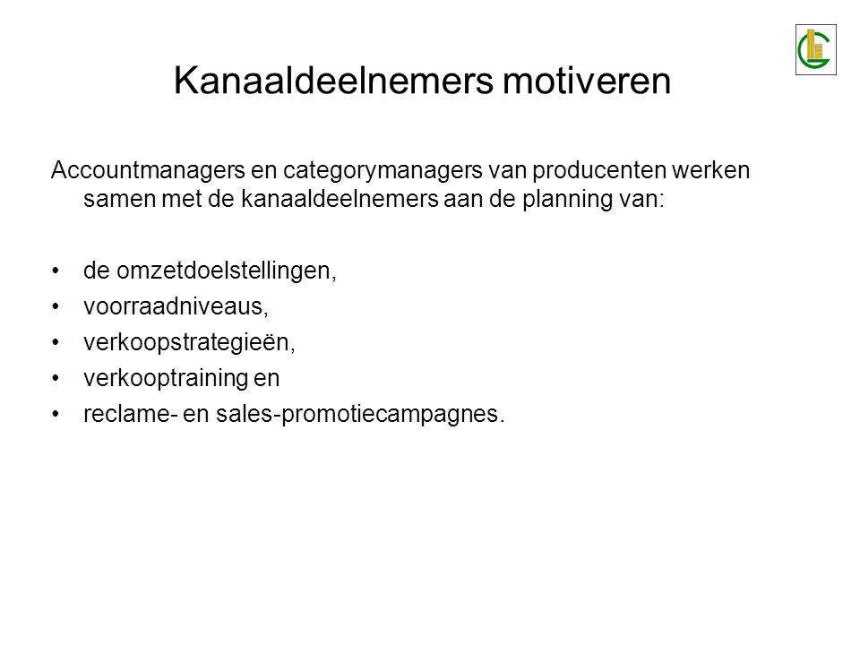 Kanaaldeelnemers motiveren Accountmanagers en categorymanagers van producenten werken samen met de kanaaldeelnemers aan de planning van: •de omzetdoelstellingen, •voorraadniveaus, •verkoopstrategieën, •verkooptraining en •reclame- en sales-promotiecampagnes.