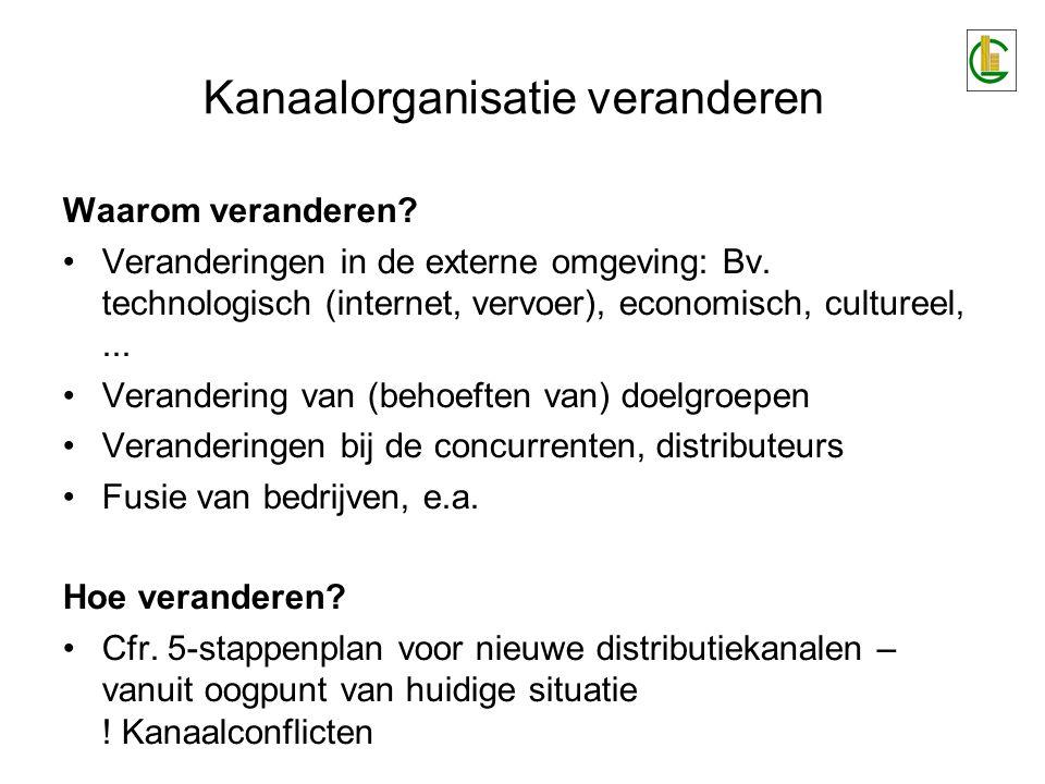 Kanaalorganisatie veranderen Waarom veranderen.•Veranderingen in de externe omgeving: Bv.