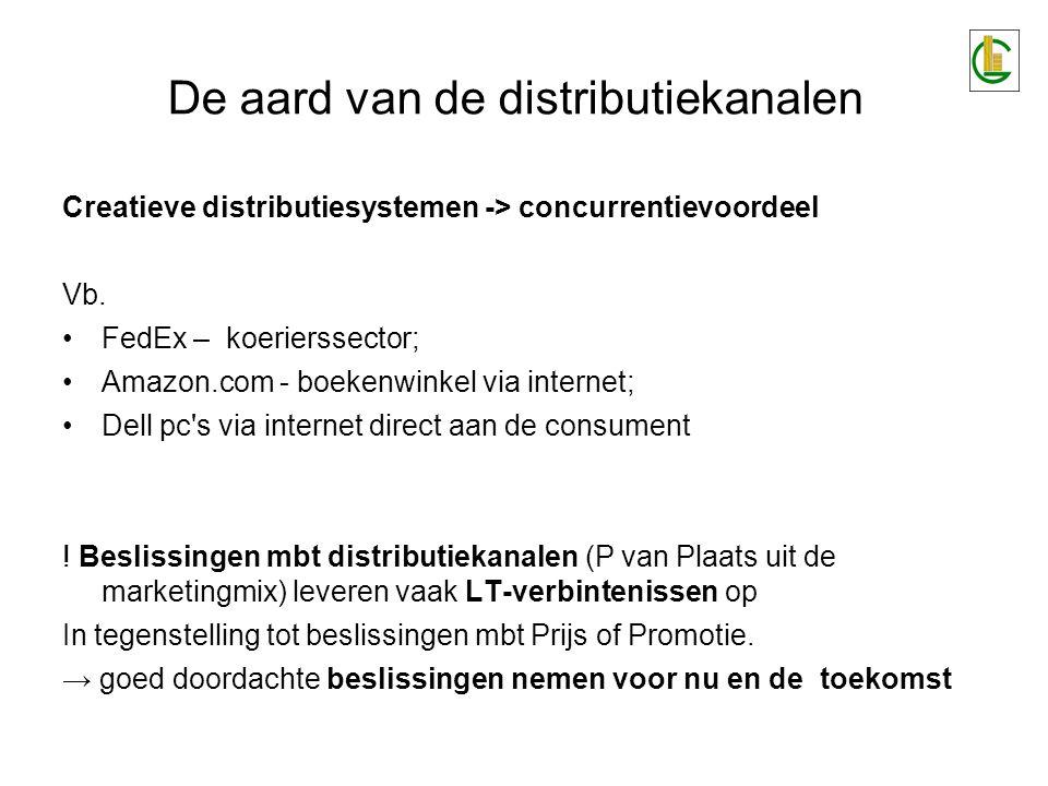 De aard van de distributiekanalen Creatieve distributiesystemen -> concurrentievoordeel Vb.
