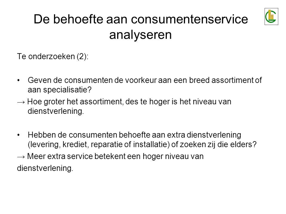 Te onderzoeken (2): •Geven de consumenten de voorkeur aan een breed assortiment of aan specialisatie.