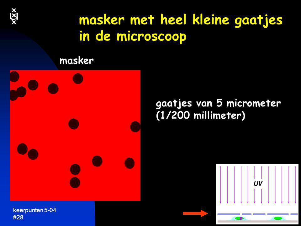 keerpunten 5-04 #28 masker met heel kleine gaatjes in de microscoop masker gaatjes van 5 micrometer (1/200 millimeter)